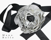 LEATHER WEDDING BELT Black Wedding Steampunk Wedding Ebony & Ivory Leather Flower Sash with Antique Victorian Glass Center S M  in stock