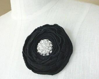 Gothic wedding - Leather flower brooch -black flower pin - grooms boutonniere - dark floral - black wedding - dark fashion - vintage button