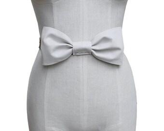 SALE Large Bow Sash White Leather Bow Headband or Belt Oyster & Chestnut Leather Wedding dress belt  in stock