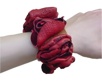 SALE Luscious Red Leather Flower Bracelet Cuff  Scarlet & Amber Leather Infinity Bracelet Cuff 1 in stock