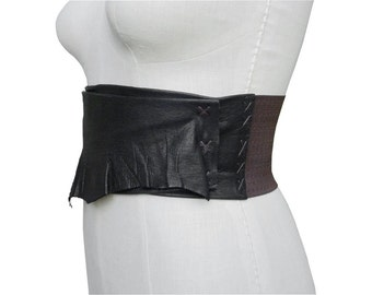 Wide Leather Belt Black Leather Wide Belt, Stretch Belt, Corset Belt, Underbust Waist Cinch Belt Industrial Elastic Small - Medium