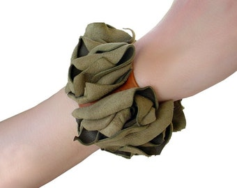 Leather Flower Bracelet - Boho Bracelet - Rustic Flower Cuff - Tan Leather - Sage Green - Rustic Wedding - flower corsage ooak One of a Kind