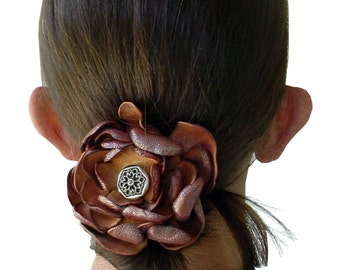 Leather Flower Hair Ponytail Holder Rustic Wedding Hair Flower Ponytail Holder Distressed Leather Distressed Rust Metallic Leather in stock