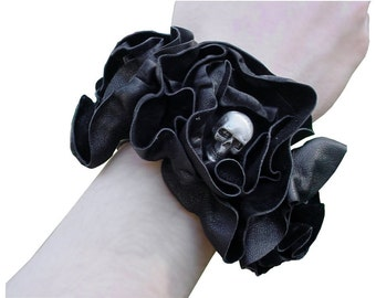 SKULL BRACELET LEATHER Flower Cuff Black Leather Steampunk Wedding, Skull Bracelet, Black Wedding  Skull Corsage  Goth Wedding custom order
