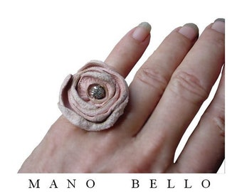 Pink Suede Leather Flower Ring with Vintage Glass Center size 6, 6.5 Rustic Bohemian Pastel Pink 1, in stock