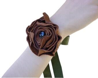 Woodland Wedding - Leather flower bracelet - Flower Corsage -  Cocoa  Moss green - Boho jewelry - Bohemian bracelet - Flower girl bracelet