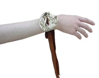 Gold Leather Flower Bracelet ,Belt, Hairband Leather Bracelet Corsage or Bootstrap Sale