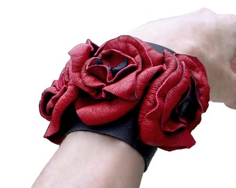 Soft Leather Flowers Cuff Bracelet Red Leather Wedding Cuff, Trilogy Flower Bracelet Red & Black in stock