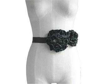 Leather Flower Sash - Black Wedding dress belt - Black Leather Flower Belt - Tie On Belt - Flower Belt - Leather Flower Belt - Dark Wedding