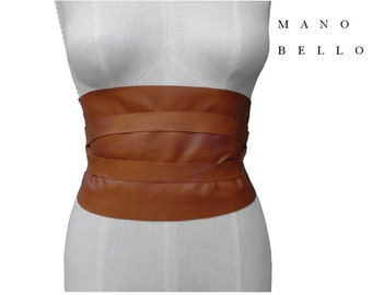 Bohemian Wide Leather Obi Belt, Honey Tan Underbust Corset Belt Rustic Underbust Corset Belt 26 - 30 waist  Small - Medium - Large,  custom