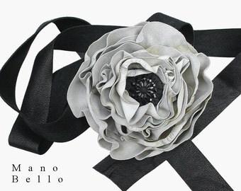 LEATHER WEDDING BELT Black Wedding Steampunk Wedding Ebony & Ivory Leather Flower Sash with Antique Victorian Glass Center S M  in stock