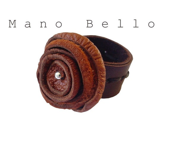 Steampunk Fashion Brown Leather Flower Ring Rust  READY