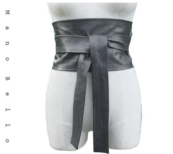 SALE Wide Leather Obi Belt Cinch Gray or Black 1 in stock S-M