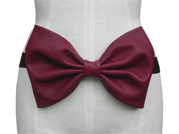 RESERVED Leather Bow Belt  Large Red Bow Headband, Oxblood Leather Bow Sash