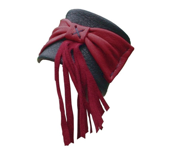 Leather Cuff  with Bow and Fringe in Black & Red, Steampunk Style, only one