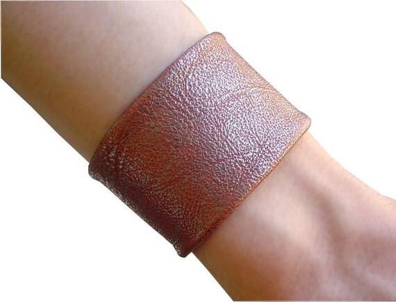 Leather Cuff Metallic Copper Leather Clay Shimmer Leather Bronze Finish Boho Leather Bracelet Cuff Non Metal Jewelry Goatskin Bracelet