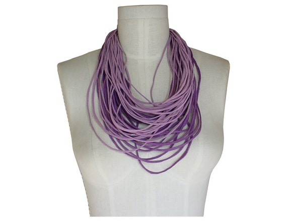 Leather Necklace Layered Lace Strands Loop Scarf Men Women Unisex Lavender Purple Orchid Ready in stock