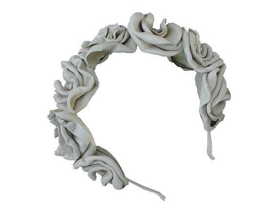 Leather Flower Hairband Bohemian Wedding Bridal Headband Leather Flower Headband Ivory Leather Covered Narrow Hair Band in stock