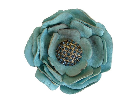 "Seafoam Leather Flower Brooch, Boutonniere, Blue Glass Vintage Button Center 2 1/2"" in stock"