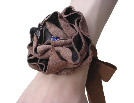 Boho Bracelet Leather Flower Corsage Bridesmaid Gift Leather Flower Headband, Flower Bracelet Cuff Cocoa, Antique Blue Glass in stock