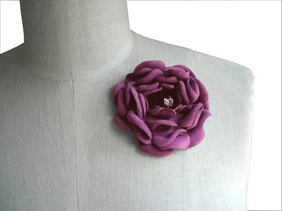 RESERVED Lilac Leather Flower Brooch, Purple Petals, Blueberry Leather Flower Pin, in stock