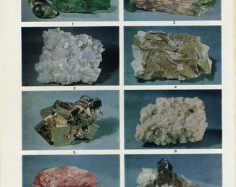 Vintage double sided encyclopedia plate - minerals, gemstones, crystals