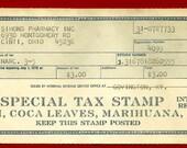Vintage 60s Medicinal Opium Coca Leaves & Marijuana Medical Government Tax Stamp Simon's Drug Store Cincinnati OH Pharmacy