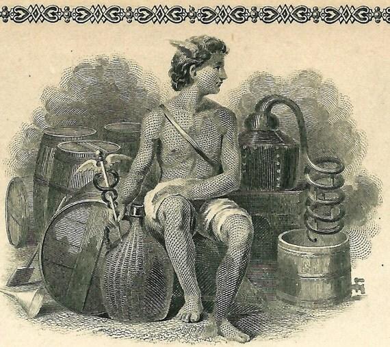 Antique 1884 MOONSHINE Whiskey STILL US Liquor License Bar Wine Cellar