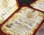 Laced Antiquity wedding invitation Set. Vintage chandelier wedding invitations. Lace and roses wedding invitations