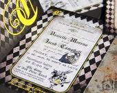 Vintage, Alice in Wonderland Wedding  Invitation set with Mophart Illustrations. Whimsical Alice in wonderland wedding invitations