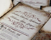 Vintage Parchment Wedding invitations. Classic Vintage wedding invitations. Antique parchment wedding invitations