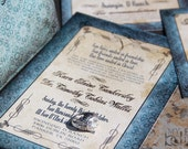 Vintage, Gothic Wedding Invitation Set. Steampunk wedding invitations. Vintage goth wedding invitation