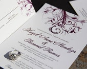 Swirly Vines Wedding Invitation Set. Sophisticated wedding invitations