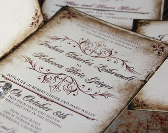 Vintage Parchment Wedding invitations. Classic Vintage wedding invitations. Antique parchment wedding invitations