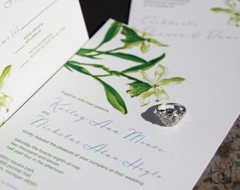 Floral wedding Invitation Set. Illustrated flower wedding invitations