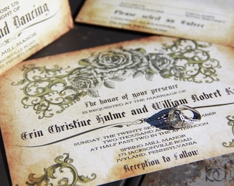 Vintage Romantic Rose wedding invitations. Antique Parchment wedding invitations. Vintage rose design wedding invitations