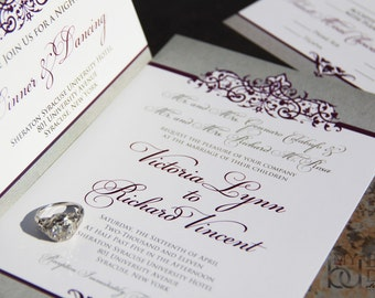 Ornate Scroll Wedding Invitation Suite, Sophisticated Style Set. Purple scrolls wedding invitations
