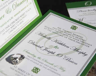 Irish, Celtic Inspired Wedding Invitation Suite. Celtic Knot wedding invitations. Irish wedding invitations.