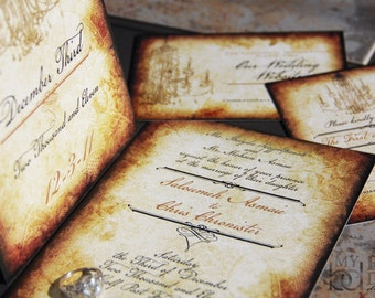 Vintage Elegance Wedding Invitation Suite. Lace and vintage roses wedding invitations. Vintage Chandelier wedding invitations