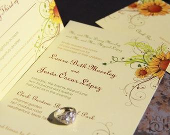 Sunflower Wedding invitation. Fun sunflower wedding invitations. Playful sunflower wedding invitations