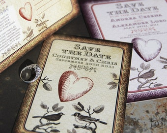 Vintage Love Birds Save the Date. Sparrow lovebirds save the date.