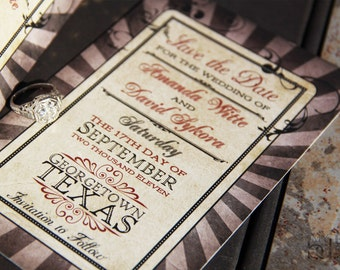 Steampunk save the date. Carnival save the date. Vaudeville save the date.