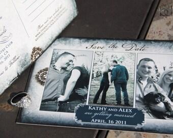 Triple Photo Save the Date. Blue parchment save the date. Antique broche save the date