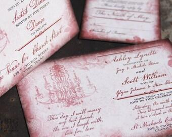 Blush Elegance Wedding Invitation Suite. Vintage blush and rose wedding invitations. Blush chandelier wedding invitations