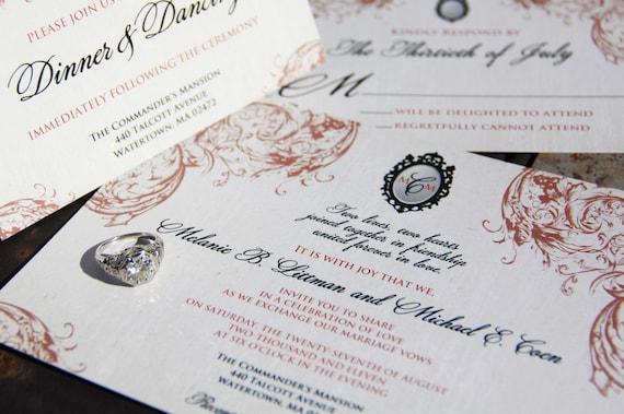 Vintage Victorian Invitation Set. Victorian broche wedding invitations. Vintage paisley wedding invitations