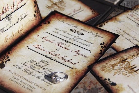 Vintage Romance wedding invitation set. Parchment and rose wedding invitations. Vintage chandelier wedding invitations