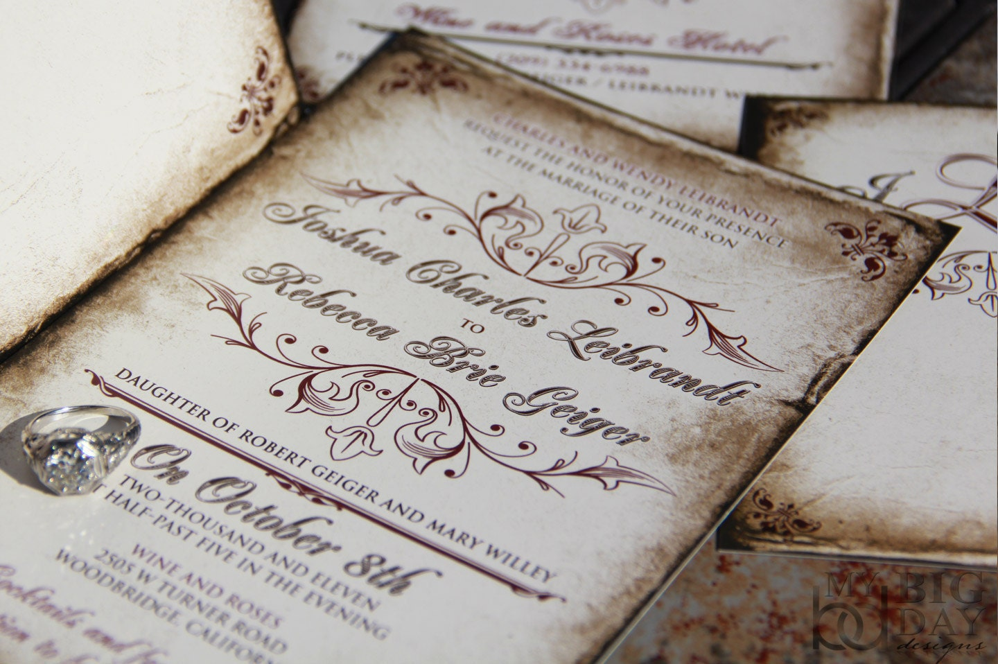 Vintage Parchment Wedding Invitations Classic Vintage Wedding Invitations Antique Parchment