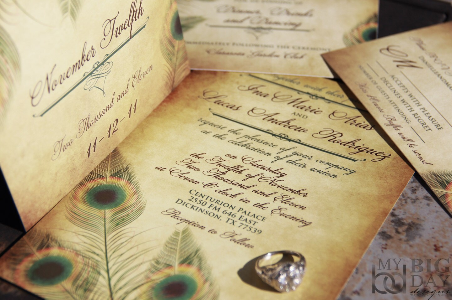 Vintage Peacock Wedding Invitation Set Fancy Feathers