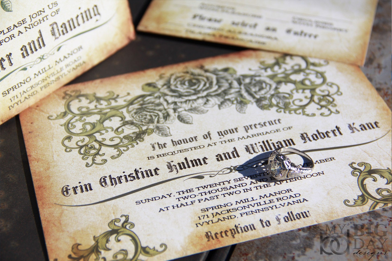 Romantic Wedding Invitation Wording: Vintage Romantic Rose Wedding Invitations. Antique Parchment