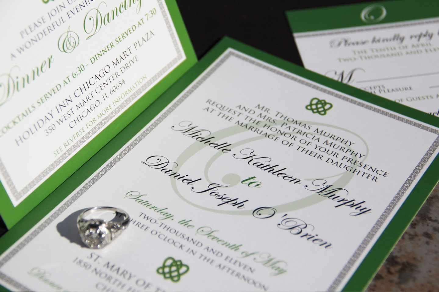 irish celtic inspired wedding invitation suite. celtic knot, Wedding invitations